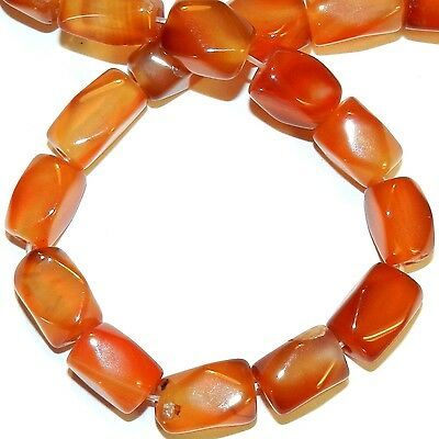 NG2890 Red Agate Medium 12mm - 16mm Faceted Rectangle Nugget Gemstone Beads 14