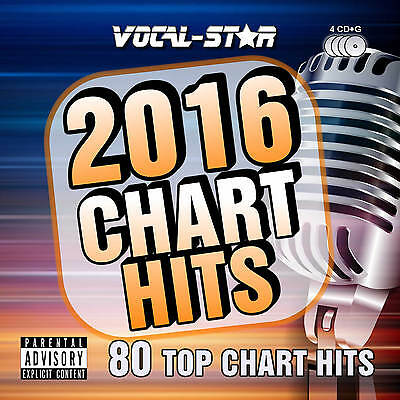 VOCAL-STAR 2016 KARAOKE CHART HITS 80 SONGS CDG CD+G 4 DISC SET - INC SONG BOOK