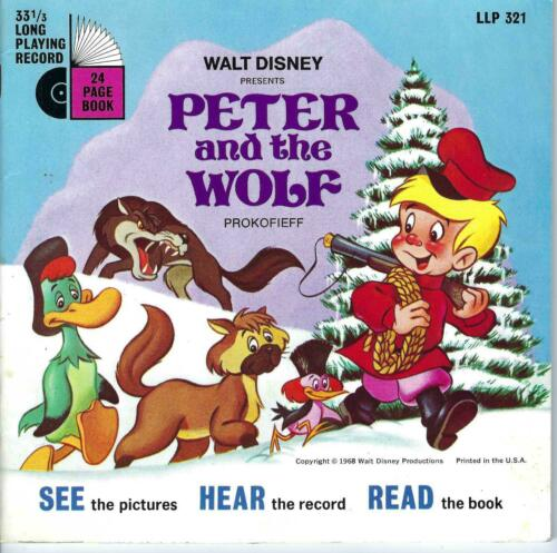 Disney  Record with story book -   Peter and the Wolf  1968