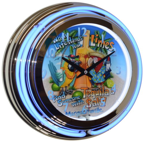 "Tequila Margaritaville 15"" Blue Double Neon Beer Clock Bar Pub Man Cave Decor"