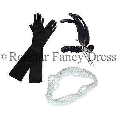 Perlen Flapper Kostüm (Damen Charleston Kopfband Perlen und Schwarz Handschuhe 1920'S Flapper Kostüm)