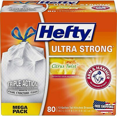 Hefty Ultra Strong Tall Kitchen Trash Bags 80 Count (Pack of 1)