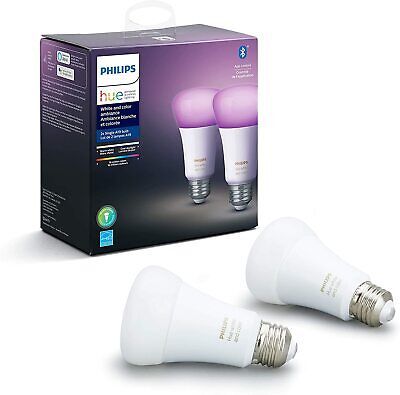 Philips Hue White and Color Ambiance 2-Pack A19 LED Smart Bluetooth Bulb