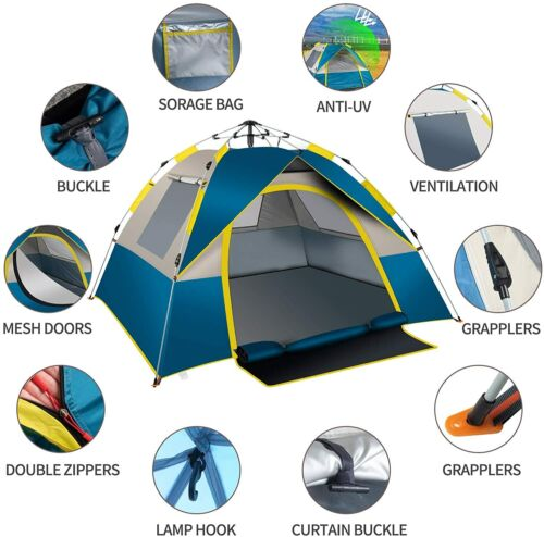 Camping Hiking Tent 3-4 People Waterproof Automatic Outdoor