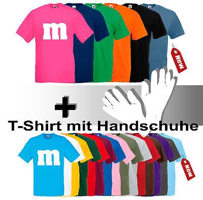 M&M T-Shirt Fans Karneval Fasching Gruppenkostüm für Damen Herren mit - M&m Kostüm Handschuhe