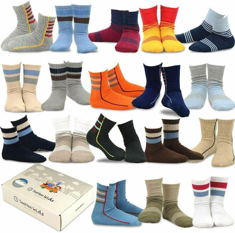 (18 Pair) TeeHee Boys Kids Cotton Socks – Sports Stripe (9-10 Years) GIFT BOX