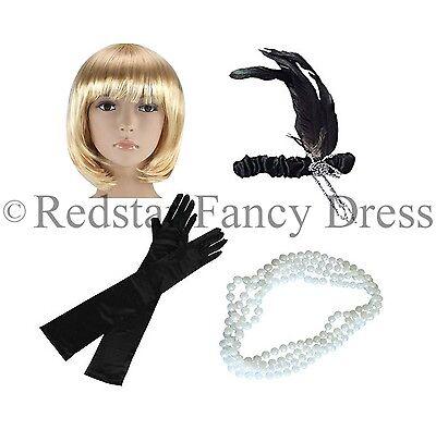 Perlen Flapper Kostüm (Damen Charleston Perücke Stirnband Perlen & Schwarz Handschuhe 1920'S Flapper)