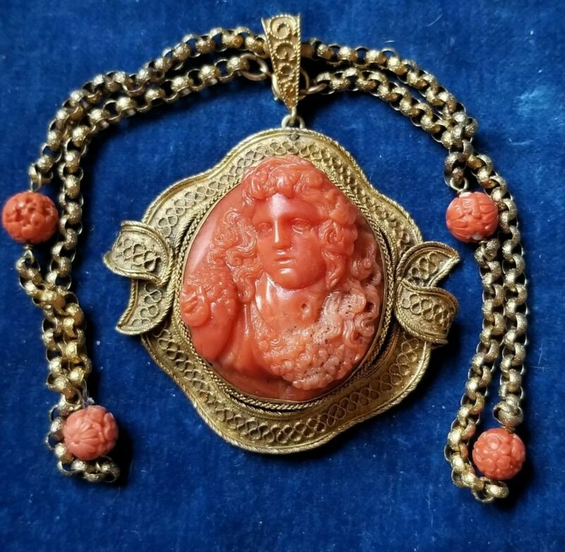 Antique Georgian Coral Cameo Bust of a Maenad 15K Gold Pendant & Necklace