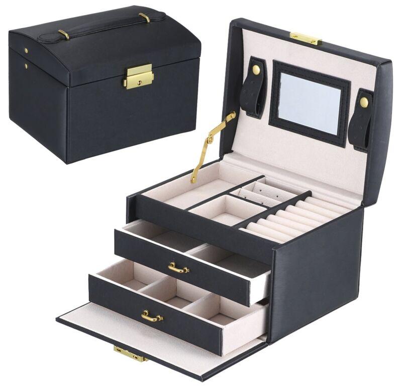 Mens/womens Black Leather Jewelry Box 6 Watch Organizer S...