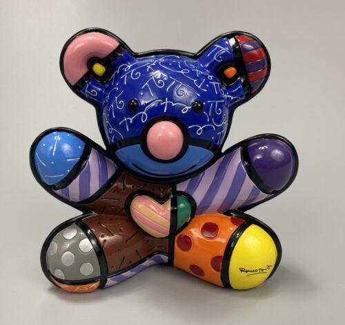 ROMERO BRITTO COLLECTIBLE TEDDY BEAR SLIPPER SHOE FIGURINE  NEW W// BRITTO BOX