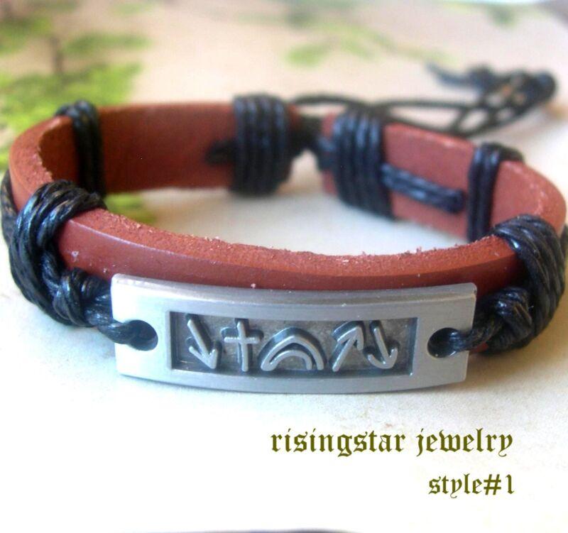 Men Jesus Resurrection Symbols New Age Leather Surfer Hip Bracelet Wristband