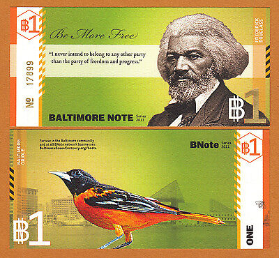 USA 2011 Local Currency BALTIMORE NOTE One ($1) Frederick Douglass UNC