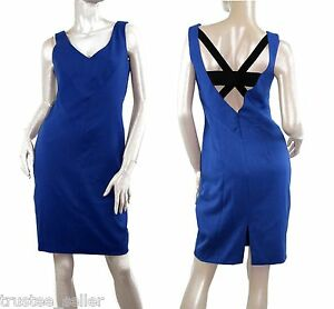 BLACK-HALO-Classy-Womens-Slim-V-Neck-Open-Back-Sheath-Kingston-Dress-True-Blue