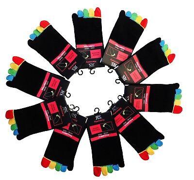 1 - 10 Paar RS Harmony  Zehensocken schwarz mit bunten Zehen  36-41 / 42-46  Neu ()