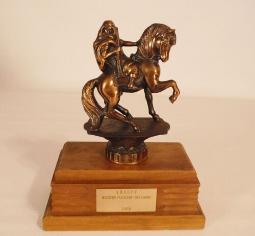 "Vintage 1966 AHASFV Western Pleasure Stallions Horse Trophy Bronze 10"" Tall"