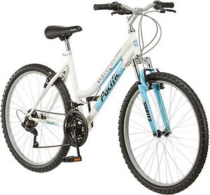 26-Inch-Women-039-s-Mountain-Bike-18-Speed-White-and-Blue-Bicycle