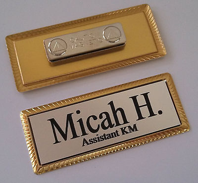 Silver Engraved Name Tag On Gold Metal Frame 1x3 Wmagnetic Badge Attachment