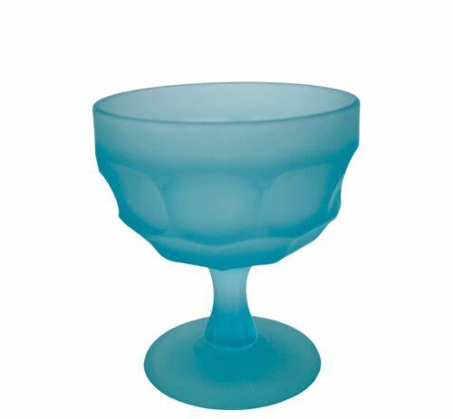 Westmoreland Glass Goblet Blue Beaded Edge Elegant wine drinking cup Chalice vtg