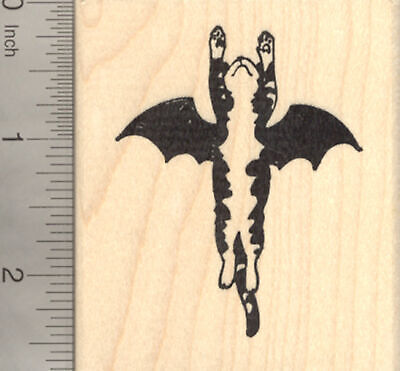 Halloween Cat Bat Rubber Stamp, Flying to the Rescue K22303 WM - The Halloween Cat