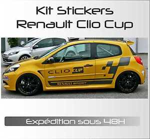 stickers autocollant adh sif automobile voiture kit complet renault clio cup ebay. Black Bedroom Furniture Sets. Home Design Ideas
