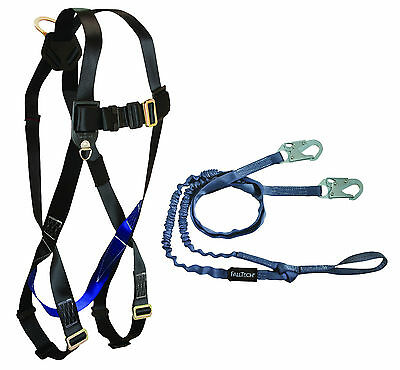 Falltech Cmb07259yl Combo Kit Harness And Double Lanyard For 100 Tie-off