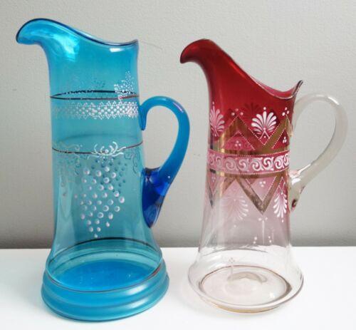 Pair Antique Lemonade Tankard Pitchers Painted Enamel Accents Blue Ruby Glass