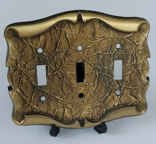 VTG AMEROCK CARRIAGE HOUSE TRIPLE SWITCH TOGGLE PLATE COVER ANTIQUE GOLD