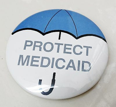 Rare Protect Medicaid With An Umbrella Pin Back Button Made By Jansco Chicago Il