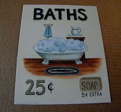 """8x10"""" BATHS 25C Country Vintage Unframed Art Print U Frame Retro Bathroom Decor"""