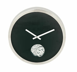 Zimlay Contemporary Black Stainless Steel Gear Wall Clock 42828