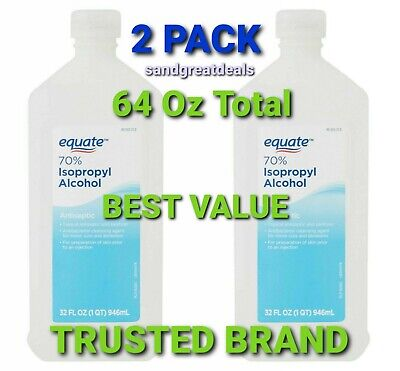 (2 Pack) Equate 70% Isopropyl Alcohol, 64 Oz Total [NEW SEALED] 3 DAY DELIVERY