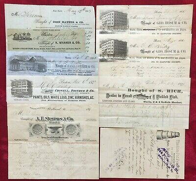1843-1895 BILLHEAD / INVOICES - PLOUGHS, PRODUCE, PAINT, CARRIAGE WOODWORK, FISH