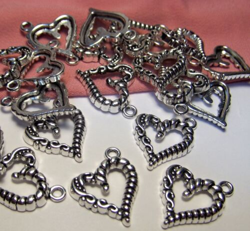 SILVER HEARTS-ROMANCE-VALENTINE-LOVE CHARMS-50 PCS-EARRING DROPS-JEWELRY MAKING