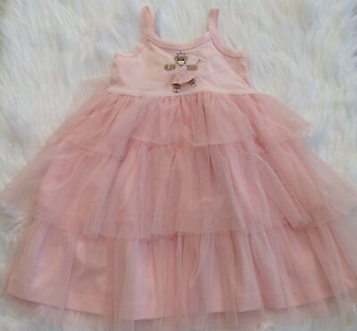 Victoria Kids boutique embroidered bear princess pink ruffle tulle dress 18-24 m