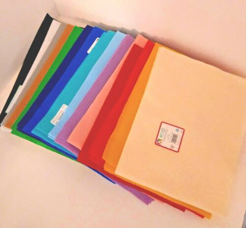 "Stack of Felt Squares 9""x 12"" NEW 35 Pieces 15 colors Eco Fi Classic"