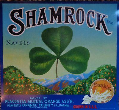 1930s/40s Shamrock 10 Orange Crate Labels Placentia Orange County California