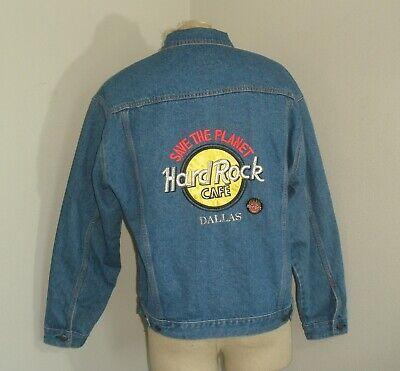 Vintage 90's Mens HARD ROCK CAFE Unlined Denim Blue Jean TRUCKER Jacket Large