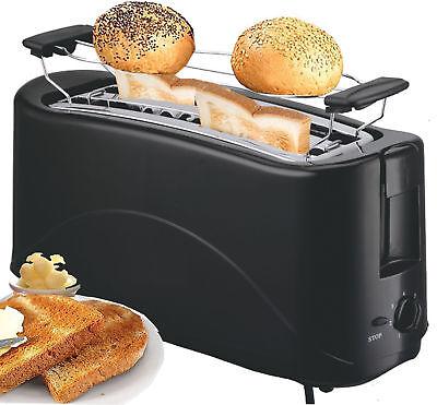 Toaster Langschlitz | 4 Scheiben Toastautomat | Cool Touch | Schwarz | NEU |
