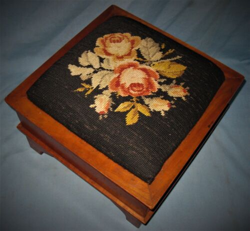 ANTIQUE SOLID CHERRY EMPIRE FOOT STOOL ORIGINAL FINISH & NEEDLEPOINT TOP 1840