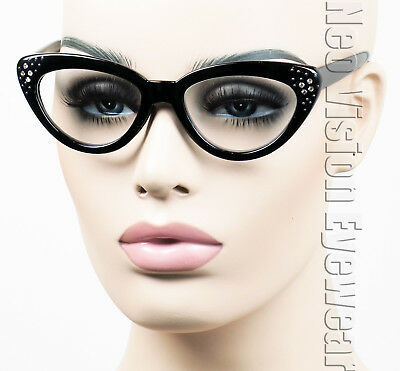 Large Rhinestone Cat Eye Women Vintage Style Clear Reading Reader Glasses (Large Cat Eye Reading Glasses)