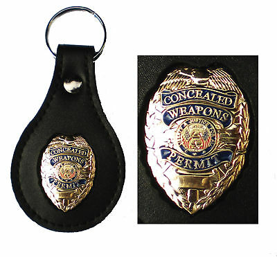 Gold Concealed Weapons Permit Badge BLACK Leather Key FOB Keychain Keyring