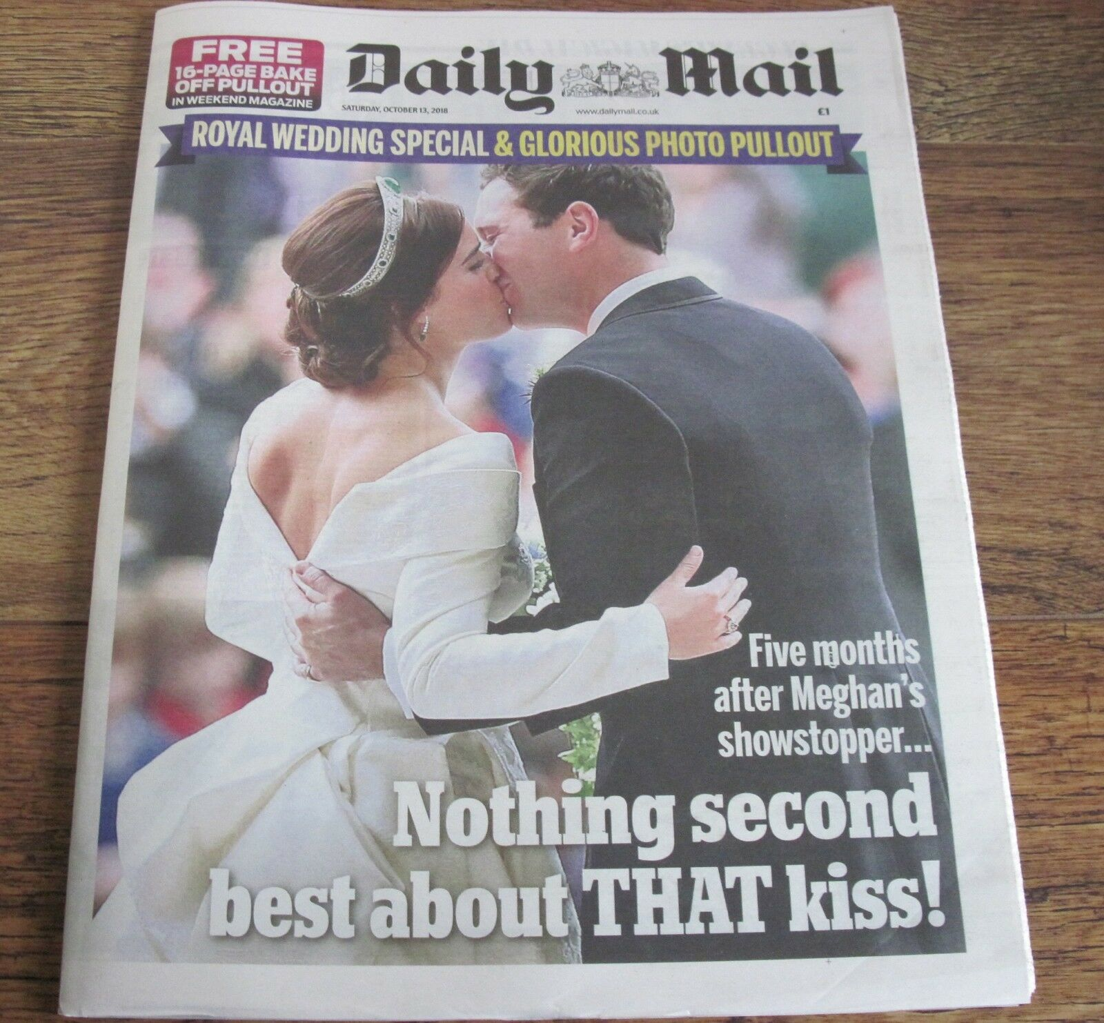 Princess Eugenie Royal Wedding Daily Mail Newspaper  Oct 13 2018.
