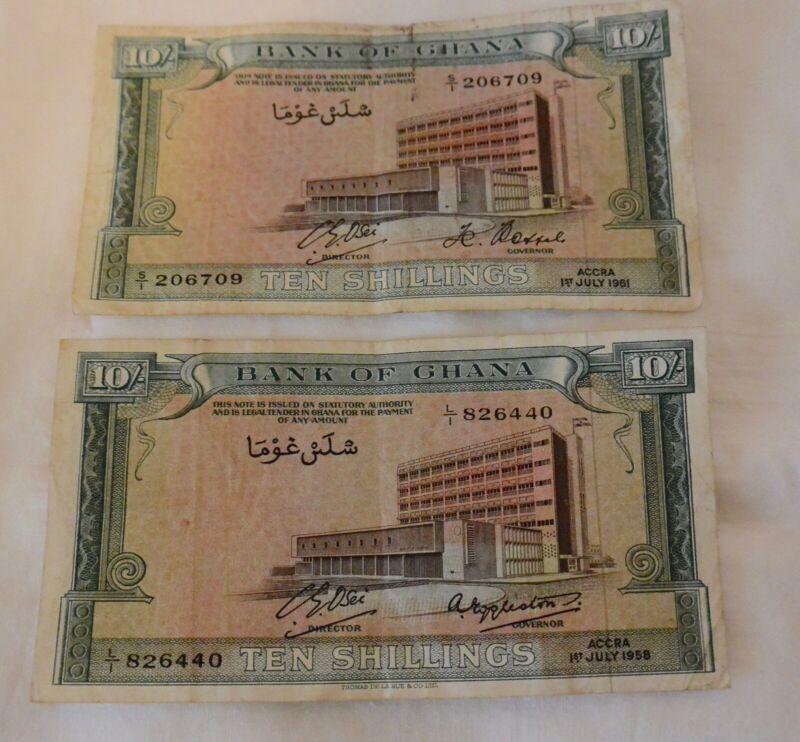 2 Ghana 10 Shillings 1958 & 1961 - Circulated Banknotes