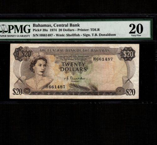Bahamas 20 Dollars 1974 P-39a * PMG VF 20 * Queen Elizabeth *