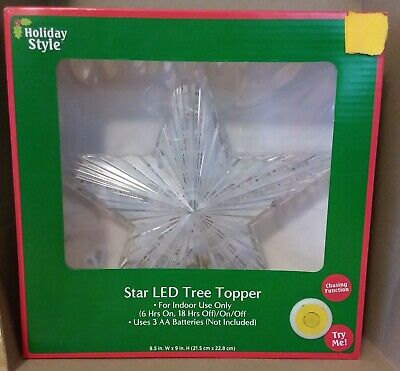 Multicolor Changing LED Star Tree Topper, Chasing Function, Timer
