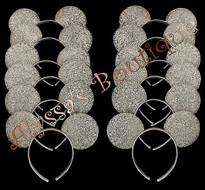 Minnie Mickey Mouse Ears Headbands 20 pc Shiny SILVER Birthday Party Costume DIY - Diy Mickey Mouse Costume