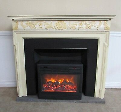 HEAT SURGE BRAND ELECTRIC FIREPLACE, AMISH CARVED MANTEL, HEATER