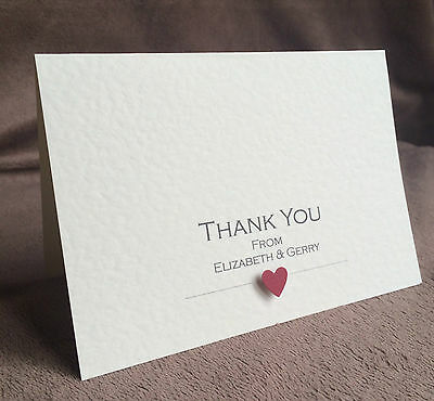 10 x Wedding Thank You Cards (Handmade & Personalised)