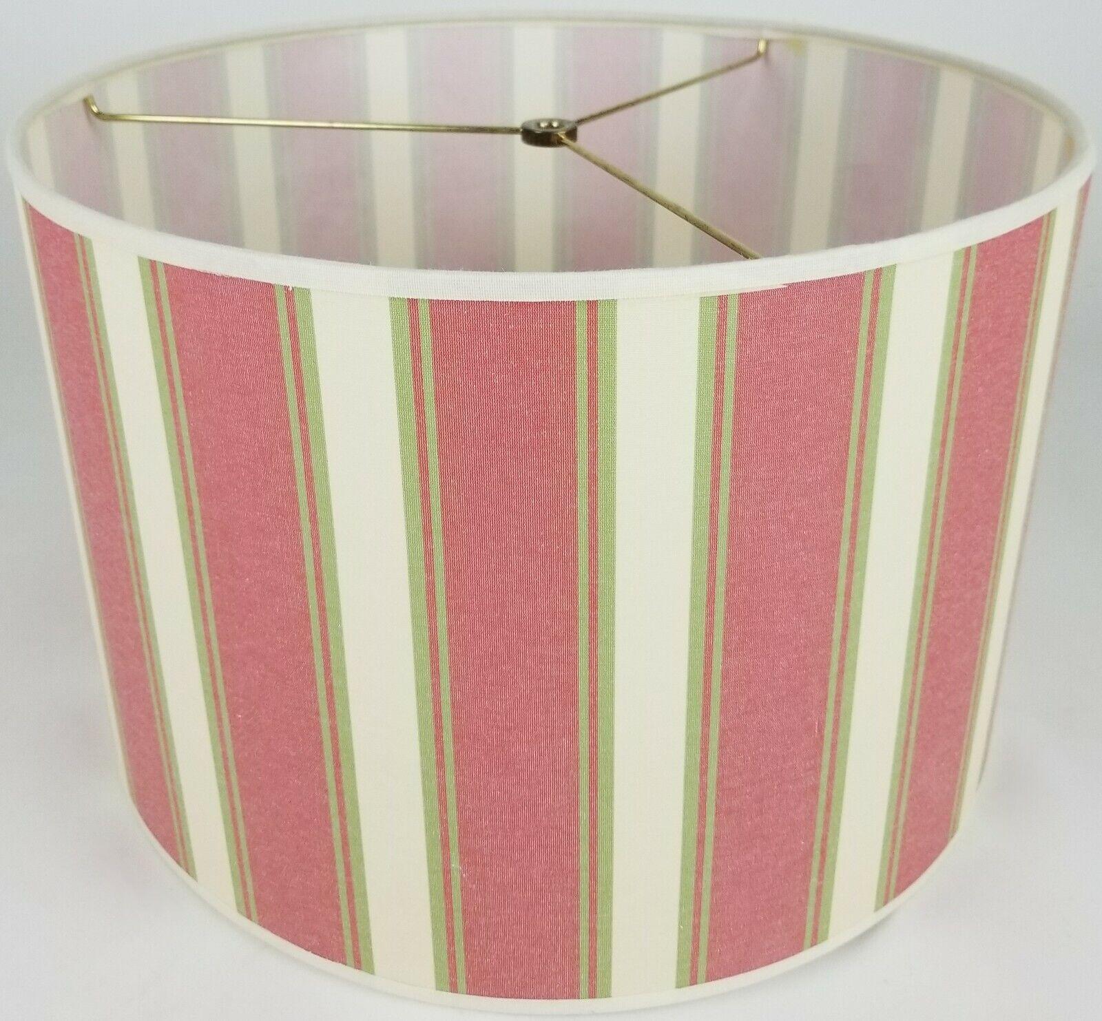 "NEW Drum Lamp Shade 15"" Dia 10"" H Pink Green Verticle Stripe"