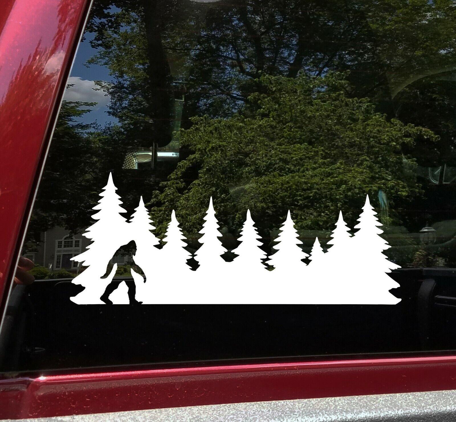 Home Decoration - Bigfoot in Treeline V2 Vinyl Decal Sticker - Pine Trees Forest PNW Sasquatch